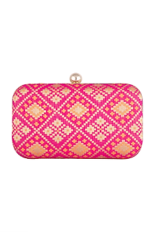 Pink Brocade Clutch by SONNET