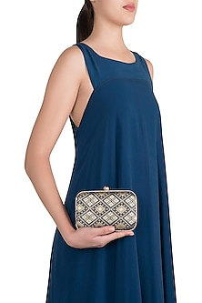 Dark Blue Brocade Clutch by SONNET