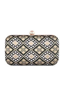 Black Brocade Clutch by SONNET