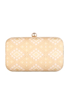 Beige Brocade Clutch by SONNET