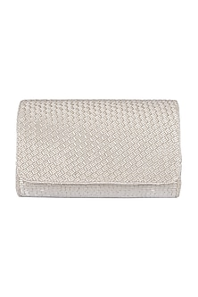 Silver Embroidered Box Clutch by SONNET