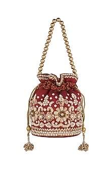 Maroon Embroidered Raw Silk Potli by SONNET