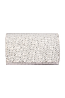 White Embroidered Box Clutch by SONNET