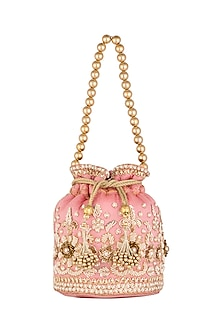Pink Embroidered Potli by SONNET