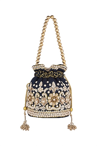 Navy Blue Embroidered Potli by SONNET