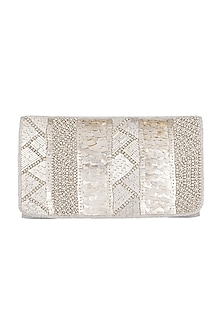 White Geometric Embroidered Clutch by SONNET