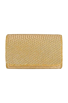 Gold Embroidered Box Clutch by SONNET