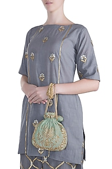 Mint Embroidered Potli by SONNET