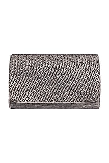 Grey Embroidered Box Clutch by SONNET