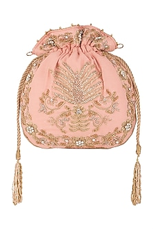 Light Pink Embroidered Potli by SONNET