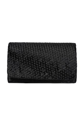 Black Embroidered Box Clutch by SONNET