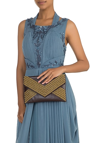 Brown Embroidered Envelope Clutch by SONNET