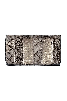 Grey Geometric Embroidered Clutch by SONNET