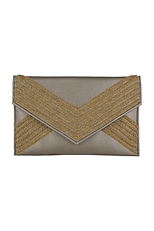 Silver Embroidered Envelope Clutch by SONNET