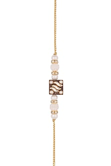 Gold Finish Kundan & Pearl Embellished Rakhi by SONNET