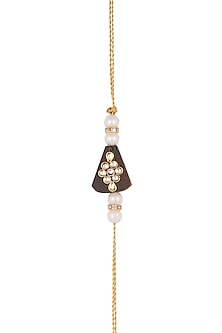 Gold Finish Pearl Embellished Rakhi by SONNET