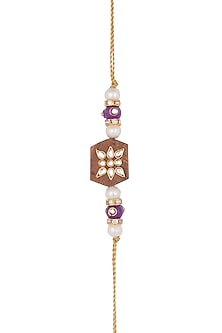 Gold Finish Pearl & Kundan Rakhi by SONNET
