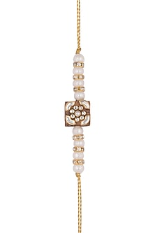 Gold Finish Kundan Rakhi by SONNET