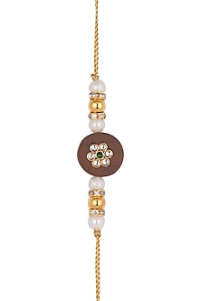 Gold Finish Pearl Rakhi by SONNET