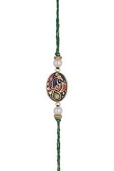 Green Hand Painted Tanjore Rakhi by SONNET