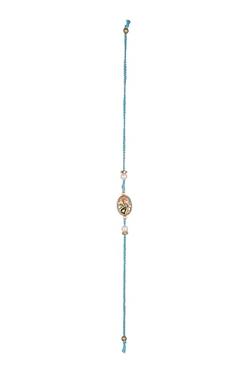 Blue Hand Painted Tanjore Rakhi by SONNET