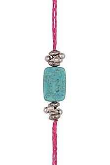 Pink Carved Turquoise Bead Rakhi by SONNET