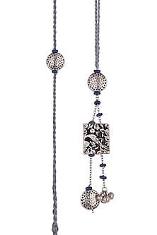 Silver Oxidised Blue Beaded Rakhi & Lumba Set by SONNET-SILVER RAKHIS