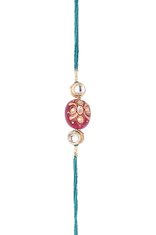 Blue Hand Painted Tanjore Bead Rakhi by SONNET
