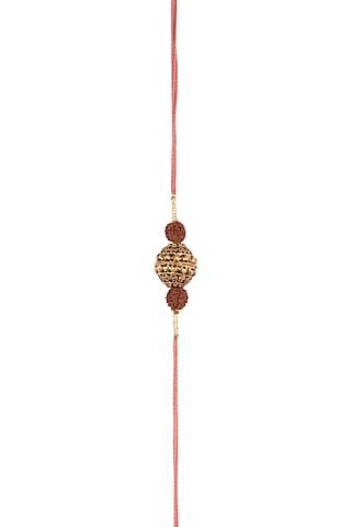 Oxidised Golden Bead & Rudraksh Strund Rakhi by SONNET