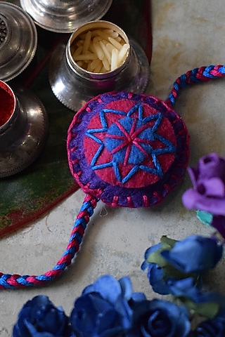 Pink & Blue Embroidered Rakhi by Sonnet