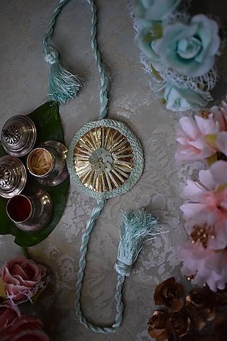 Blue & Gold Sequins Rakhi by Sonnet