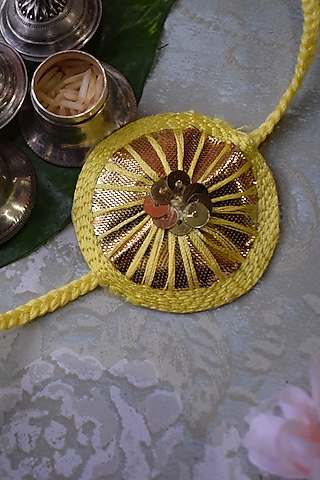 Yellow & Gold Sequins Rakhi by Sonnet