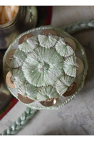 Mint Green Thread Work Rakhi by Sonnet