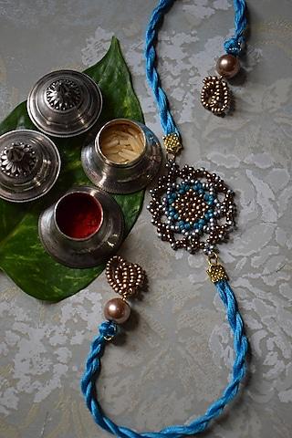 Gold & Blue Beaded Rakhi by Sonnet