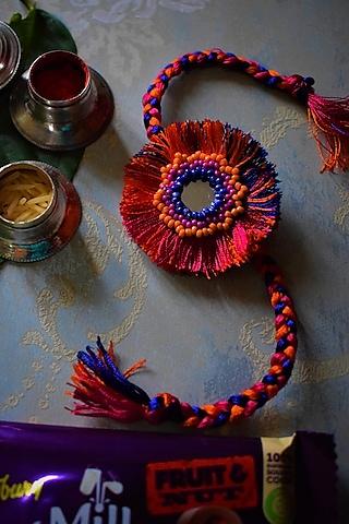 Pink Beaded Rakhi by Sonnet