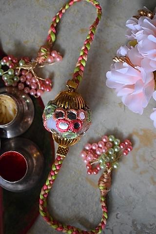 Pink & Blue Beaded Rakhi by Sonnet