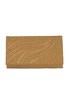 Gold Embroidered Satin & Silk Clutch by SONNET