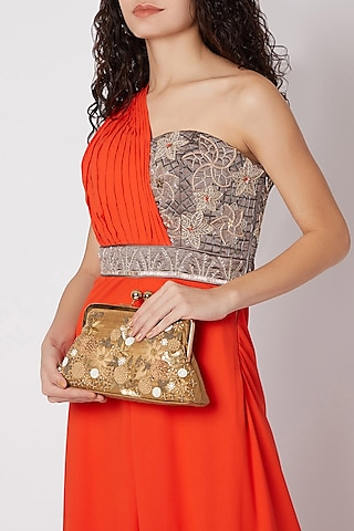 Brown Embroidered Satin & Silk Clutch by SONNET