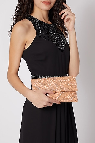 Rose Gold Embroidered Satin & Silk Clutch by SONNET