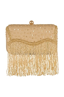 Gold Embroidered Satin Clutch by SONNET