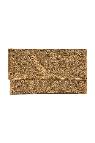 Bronze Embroidered Satin & Silk Clutch by SONNET