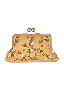Yellow Embroidered Satin & Silk Clutch by SONNET