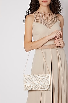 White Embroidered Satin & Silk Clutch by SONNET