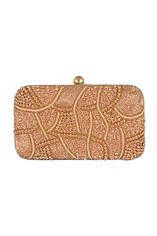 Rose Gold Geometric Embroidered Clutch by SONNET