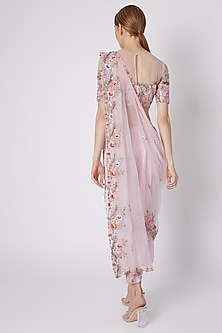 Blush Pink Embroidered Pant Saree Set by Sonam Luthria
