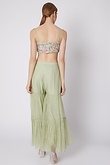 Mint Green Embroidered Sharara Set by Sonam Luthria