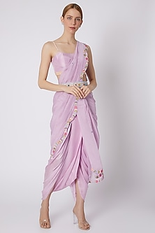 Lavender Embroidered Pant Saree Set by Sonam Luthria