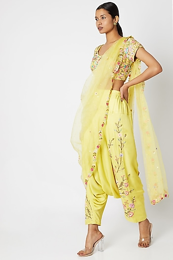 Yellow Embroidered Pant Saree Set by Sonam Luthria