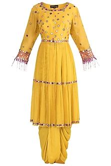 Mustard Yellow Dhoti Kurta Set by Sonam Luthria