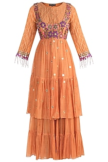 Orange Pinafore Tiered Jacket With Sharara Pants by Sonam Luthria